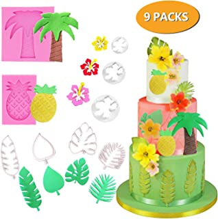 CODOHI 9 Packs Tropical Leaf Fondant Cookie Cutters Mold Pineapple Coconut Palm Tree Hibiscus Cutters Set- Reusable Chocolate Candy Fondant Tool for Summer Luau Tropical Party