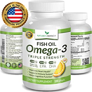 Best Triple Strength Omega 3 Fish Oil Pills 2500mg Burpless High Potency Lemon Flavor - 900mg EPA 600mg DHA Ultra Pure Liquid Softgels 120 Capsules for Brain Joints Eyes Hair Heart Health Supplement