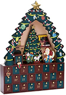 PIONEER-EFFORT Christmas Wooden Advent Calendar House with 24 Drawers for Kids and Adults Christmas Scene 12.2 x 2.1 x 14.9H