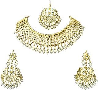 Meena Kundan Gold Plated Bridal Look Jewelry Necklace Set