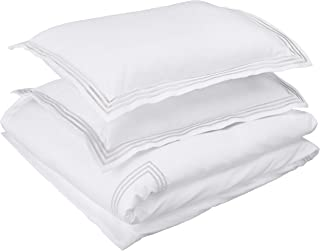 AmazonBasics Embroidered Hotel Stitch Duvet Cover Set - Premium, Soft, Easy-Wash Microfiber - Full/Queen, White with Light Grey Embroidery