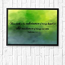 HaiGuoQu Now Faith is The Substance of Things Hoped for, The Evidence of Things not seen,Wall Décor, Religious Bible Verses Inspire Poster Wall Art Prints Framed 12x10in