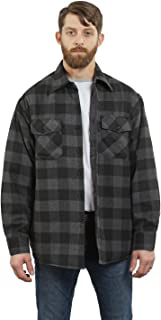 YAGO Men's Quilted Lining Flannel Plaid Button Down Shirt Jacket with Side Pockets