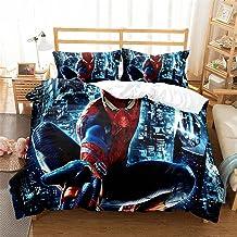220 X 240 Cm Housse De Couette 2 Personnes Spiderman Super Hero Avengers Housse Couette Impermeable Microfibre avec Fermet...