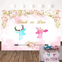 Mehofoto Deer Gender Reveal Backdrop Buck and Doe Baby Shower Background 7x5ft Vinyl Watercolor Flowers Photo Background Pregnancy Announcement Party Banner Decor
