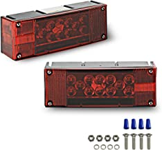 Wellmax 12V LED Trailer Lights, Submersible and Waterproof Low Profile Rectangular Tail Lights for RV, Marine, Boats, Trailers