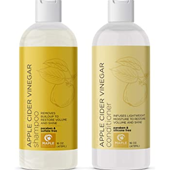 Apple Cider Vinegar Shampoo and Conditioner - Sulfate Free Shampoo And Conditioner for Color Treated Hair Repair - DHT Blocker Shampoo for Hair Loss and Hair Growth Conditioner Dry Scalp Treatment