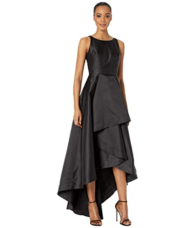 Adrianna Papell Mikado High-Low Gown (Black) Women