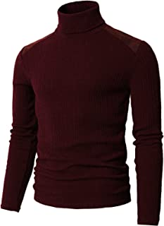 H2H Mens Slim Fit Turtleneck Pullover Sweaters Basic Designed Ribbed Thermal Shirts