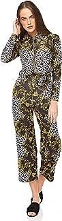 Diva London Ahana Paisley Front Zip Jumpsuit - L