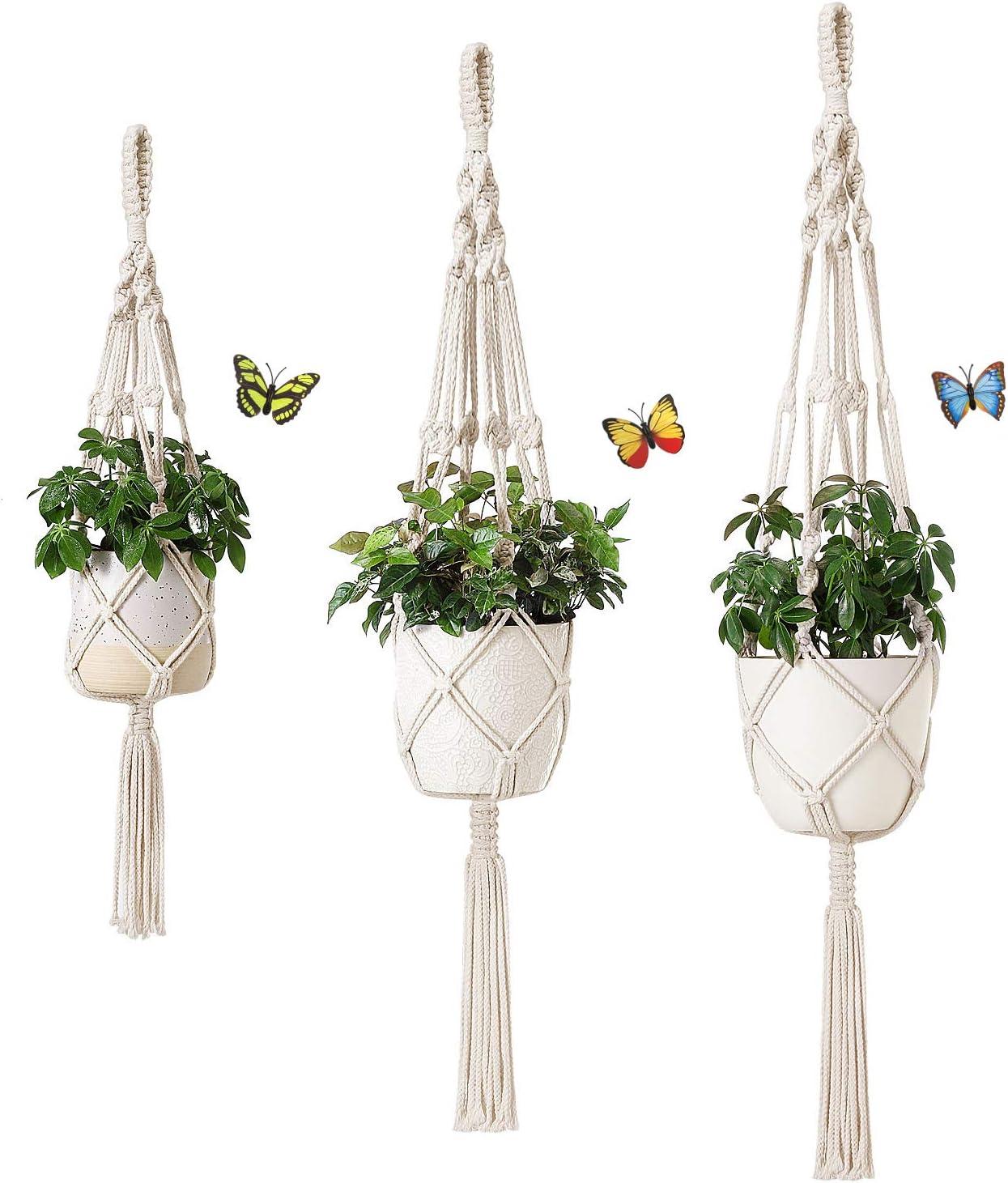 Dahey Macrame Plant Hangers, 3 Different Sizes Indoor Outdoor Ceiling Planters Hanging Plant Basket Cotton Rope Flower Pot Holder Modern Boho Home Decor