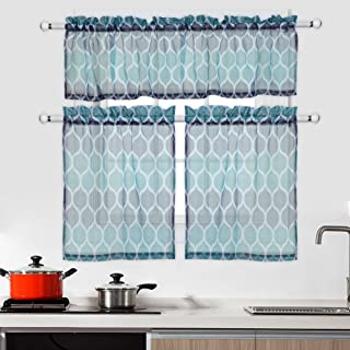 CAROMIO Cafe Curtains 36 Inch with Valance, Geometric Printed Farmhouse Kitchen Sheer Tier Curtains and Valance Set Short Bathroom Window Curtains, Navy/Teal