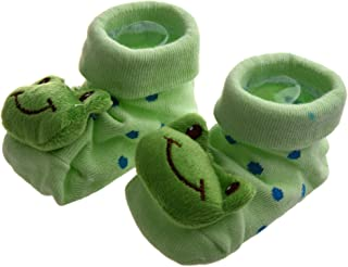 ACAMPTAR Rana Verde - Irresistiblemente Lindo 3D Calcetines Antideslizante para Bebes 0-12 Meses