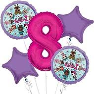 LOL Suprise Balloon Bouquet 8th Birthday 5 pcs - Party Supplies