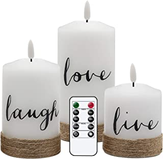 Eldnacele Flameless Flickering Candles Live Laugh Love Decal with Remote Control Timer, Hemp Rope...
