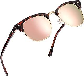 c92e767369 FEIDU Retro Polarized Clubmaster Sunglasses for Men Half Metal Women FD3030