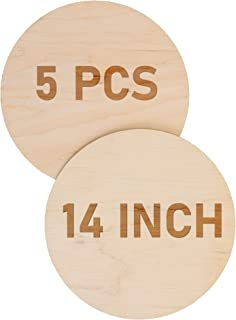 Plydolex Unfinished Wood Circles for Crafts Set of 5 pcs - Wooden Rounds for Crafts 14 inch - Birch Wood Slices Perfect fo...