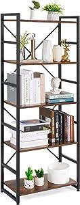 Haton Bookshelf, 5 Tier Industrial Rustic Wood Bookcase, Modern Standing Metal Frame Book Shelf for Living Room, Bedroom and Office, 5-Shelf, Brown/Black
