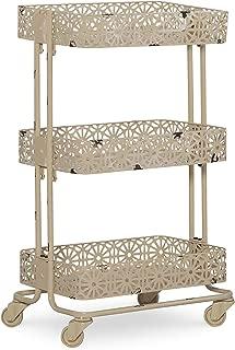 Linon Cream 3-Tier Cart Metal, 29.5