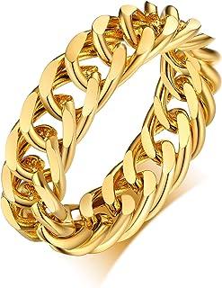 Vnox Anello a Catena Spessa 6 mm Anello Cubano a Maglia Cubana Anello Elegante in Acciaio Inossidabile Riempito in Oro per...