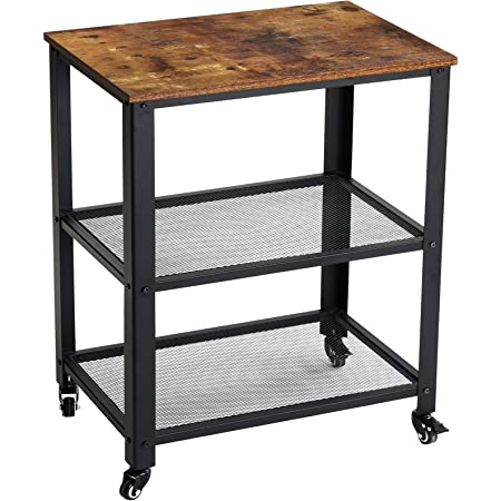 YMYNY Serving Cart Trolley, Industrial 3 Tiers Kitchen Shelves with Lockable Wheels, Heavy Duty Storage Organiser, Easy Assembly, 60x 40 x 81 cm, for Kitchen, Living Room, Rustic Brown HTMJ011H