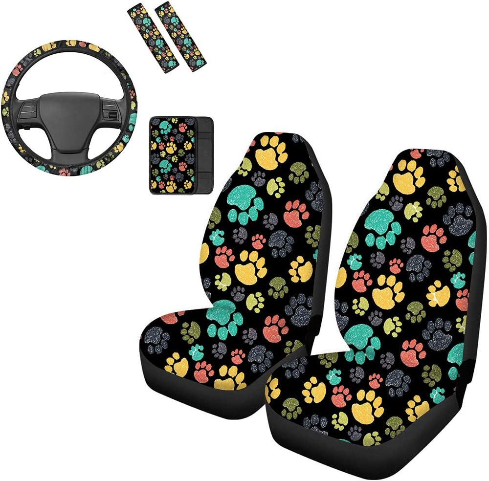 UNICEU online shopping Colorful Puppy Dog Oakland Mall Pet Paw Design Car Seat Cov Cute Front