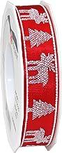 Präsent 1-Piece 25 mm 20 m C.E. Pattberg Ribbon Norwegen Wired Puff Printed Decor Taffeta, Red
