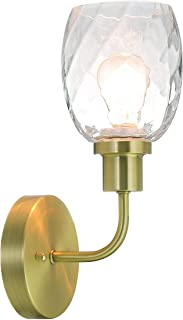 XiNBEi Wall Light Single 1 Light Bathroom Wall Lighting with Glass, Vintage UP/Down Wall Lamp Satin Brass for Kitchen & Bathroom XB-W210-1-SB