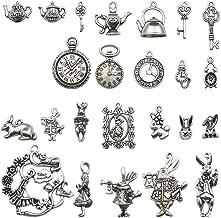 40 PCS Alice in Wonderland Fairy Charms Collection - Antique Alice Rabbit Steampunk Skeleton Keys Pendants Jewelry Findings (Silver HK7)