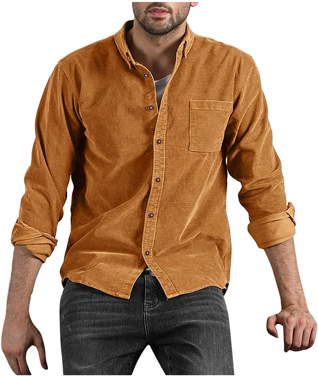 Mens Slim-fit T-Shirt Long Sleeve Casual Button Down Lapel Tees Corduroy Solid Color Classic-fit Tops with Pocket