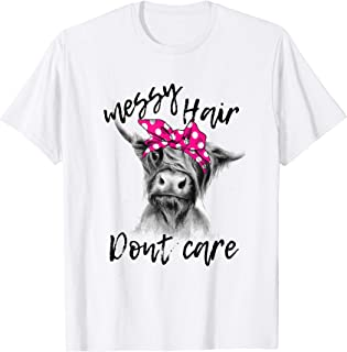 Messy Hair Dont Care Highland Cow Headband T-shirt