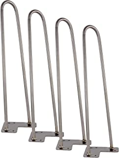 "Kira Home 16"" Mid-Century Industrial Metal Hairpin Legs for Coffee Table and Benches, 2 Rods of Heavy Duty 10mm Thickness, Set of 4, Raw Steel Finish"