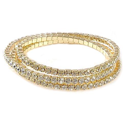 c3a344794e Gold Rhinestone Bracelets: Amazon.com