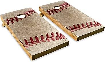 Baseball DesignCornhole/Bean Bag Toss Board Set – Made in USA Wood - 2'x4' Tournament Size - Includes 8 Corn-Filled Bean Bags
