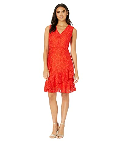 Sam Edelman Ruffle Tiered Lace Dress (Orange) Women