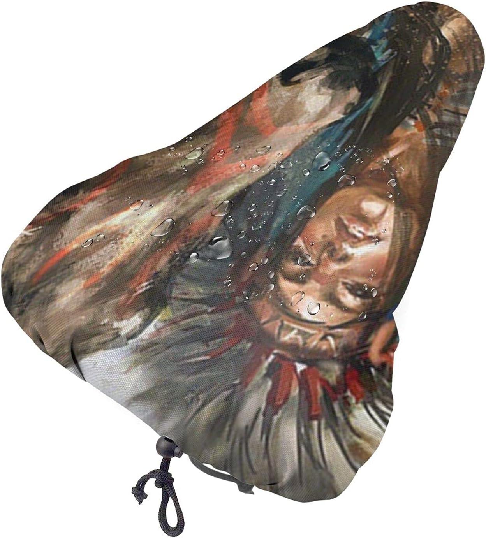 Funda para asiento de bicicleta con diseño de caballo pintado de nativos americanos Funda impermeable para silla de montar de bicicleta Funda para lluvia con cordón elástico Funda para asiento de