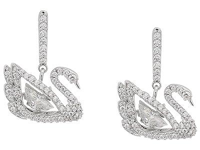 Swarovski Dancing Swan Pierced Earrings (CZ White) Earring
