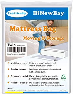 """HiNewBay Twin Mattress Bags for Moving,Heavy Duty Triple Thick Mattress Bag, Waterproof Puncture Resistant Bag with Two Extra Wide Adhesive Strips, Storage or Disposal 391592"""""""