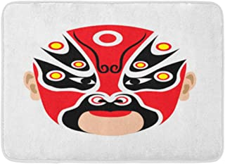 Emvency Bath Mat White Ancient Black Beijing Traditional Chinese Opera Mask Red Face Asian Bathroom Decor Rug 16