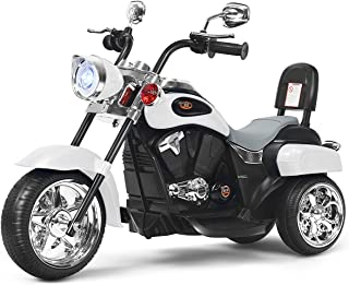 Costzon Kids Ride on Chopper Motorcycle, 6 V Battery Powered Motorcycle Trike w/Music, Headlight, Forward/Reverse Switch, ...