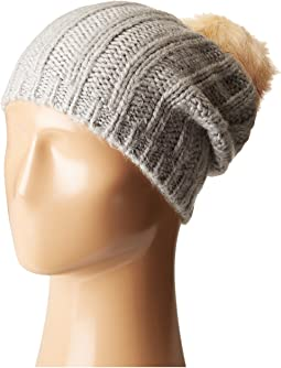 Hat Attack - Rib Slouchy with Faux Fur Pom