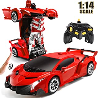 RC Car for Kids Transform Car Robot, Remote Control Super Car Toys with Gesture Sensing One-Button Deformation and 360°Rotating Drifting Light Music 1:14 Scale , Best Gifts for Boys Girls (Red)