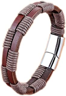 SUMMER STORE New Leather Bracelet Twining Bundling Line Geometric Pattern Easy Hook Accessories Jewelry Gift,Brown,21cm