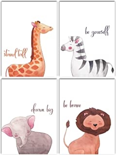 L & O Goods Safari Animals Inspirational Nursery Décor   Baby Boy & Girl Wall Art Watercolor Prints   Set of 4 Posters for Bedroom Decoration   Cute Kids Posters   8 x 10's