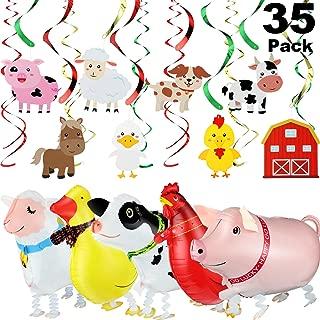 35 Pieces Farm Animals Hanging Swirls Farm Party Supplies Walking Farm Animal Balloon for Farm Theme Birthday Party, Baby Shower Decor, Summer Birthday BBQ Party Decorations