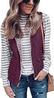 Womens Warm Sherpa Fleece Zip Up Reversible Vest Sleeveless Lightweight Jacket Outwear with Pockets