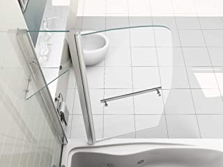 HNNHOME 180° Pivot Sail Style Double Panel Over Bath Shower Screen 6 mm Glass With Towel Handle And Shelf
