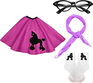 50s Girls Costume Accessory Set - Poodle Skirt, Chiffon Scarf, Cat Eye Glasses,Bobby Socks