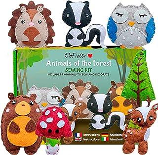 DeFieltro Animaux de la Forêt – Kit Feutrine – Materiel Bricolage Enfants – Kit Couture Enfant 10 Ans – Atelier Creatif En...