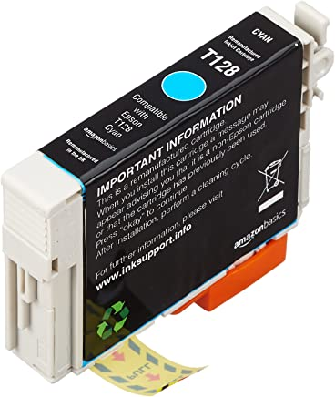 AmazonBasics Remanufactured Ink Cartridge Replacement for Epson Apple T128 Cyan